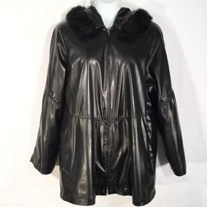 ATLANTIC BEACH | Faux Leather w Fur Hood Jacket 1X
